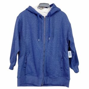 Old Navy Fleece Knit Hooded Sweatshirt Jacket NEW